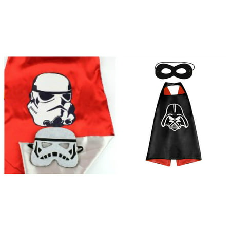 Star Wars Vader & Trooper Costumes - 2 Capes, 2 Masks w/Gift Box by - Darth Vader Mask And Cape