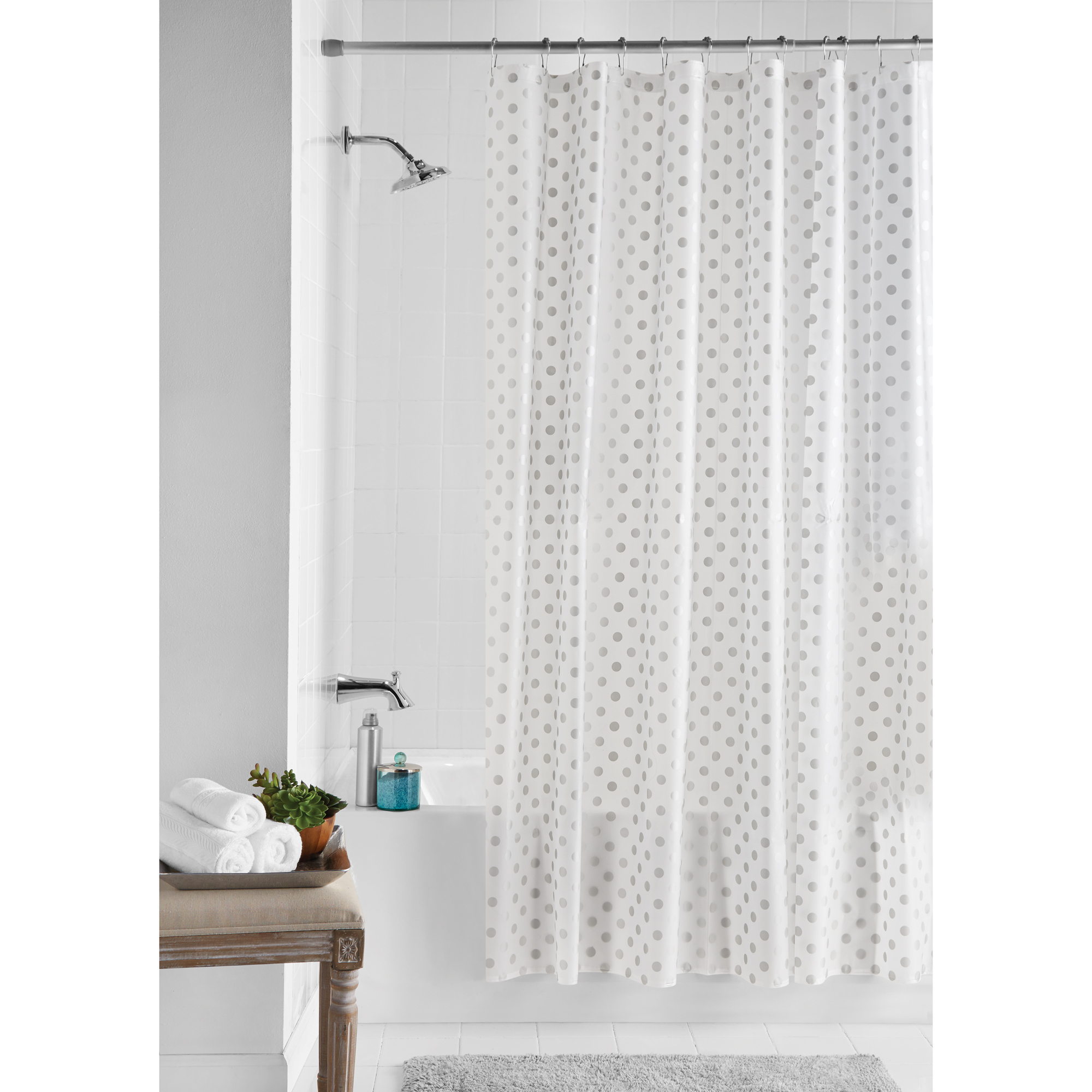 Hotel Quality Waffle Weave 100 Cotton Shower Curtain Pewter
