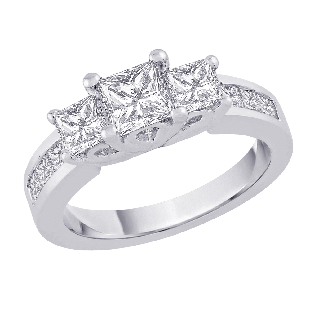 Katarina Jewelry Three Stone Plus Princess Cut Diamond Ri...