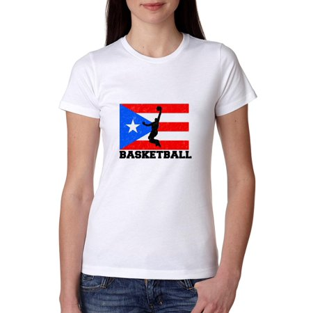 dcc579153a8 Hollywood Thread - Puerto Rico Olympic - Basketball - Flag Women's Cotton T- Shirt - Walmart.com