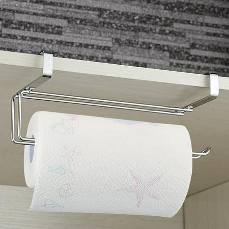 New Arrivials Kitchen Towel Holder Roll Paper Storage Rack Tissue Hanger Under Cabinet Door Home Improvement