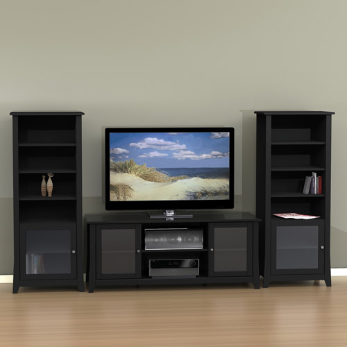 Tuxedo entertainment center with curio cabinet for tvs up to 60 bundle image sciox Images
