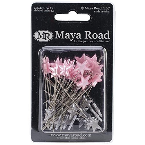 Maya Road Trinket Pins, 2.25-Inch, Stars, Silver and Pink, 50-Pack Multi-Colored