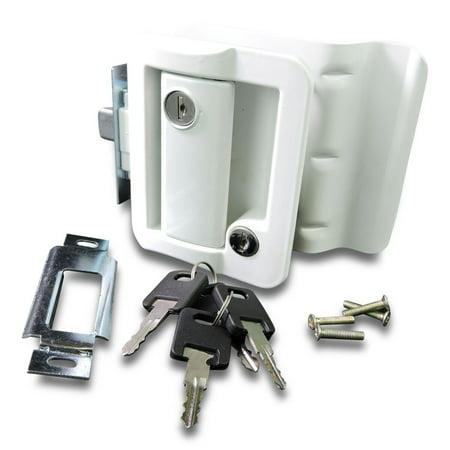New White RV Entry Door Lock w / deadbolt Camper Travel