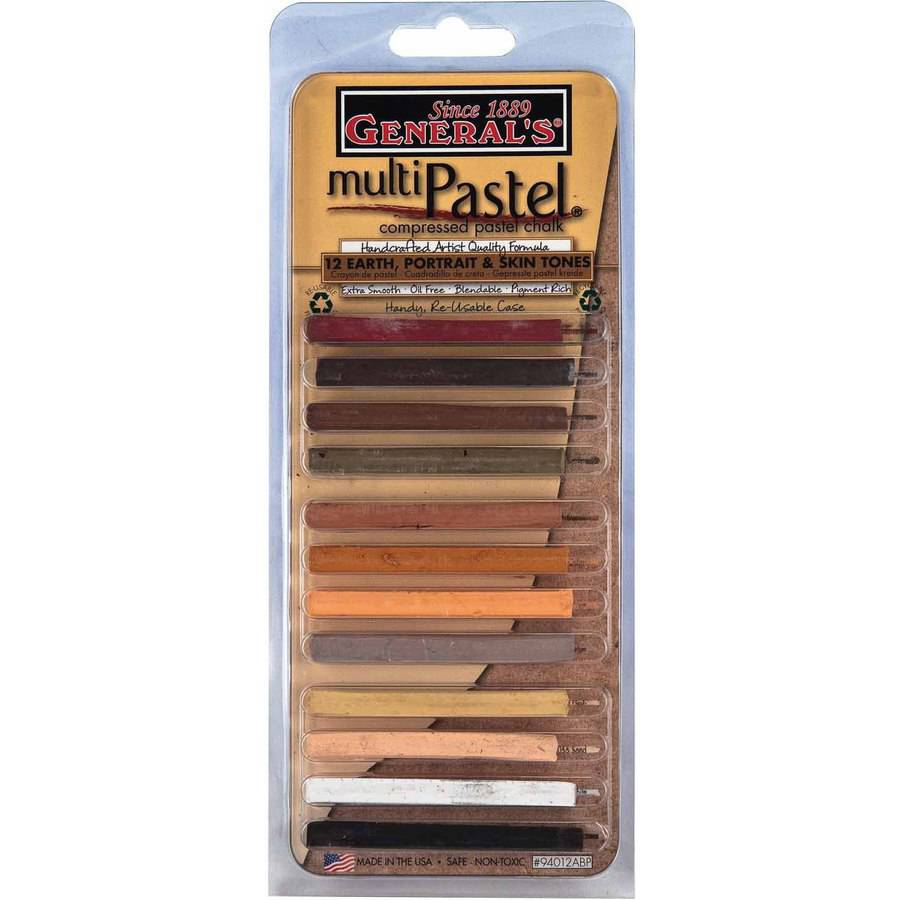 General's Acid-Free Multi-Pastel Oil Free Square Compressed Chalk Stick, Assorted Color, Pack of 12