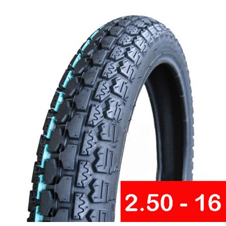 Tire 2.50 - 16 Front or Rear Motorcycle Dual Sport On/Off Road Slightly Knobby