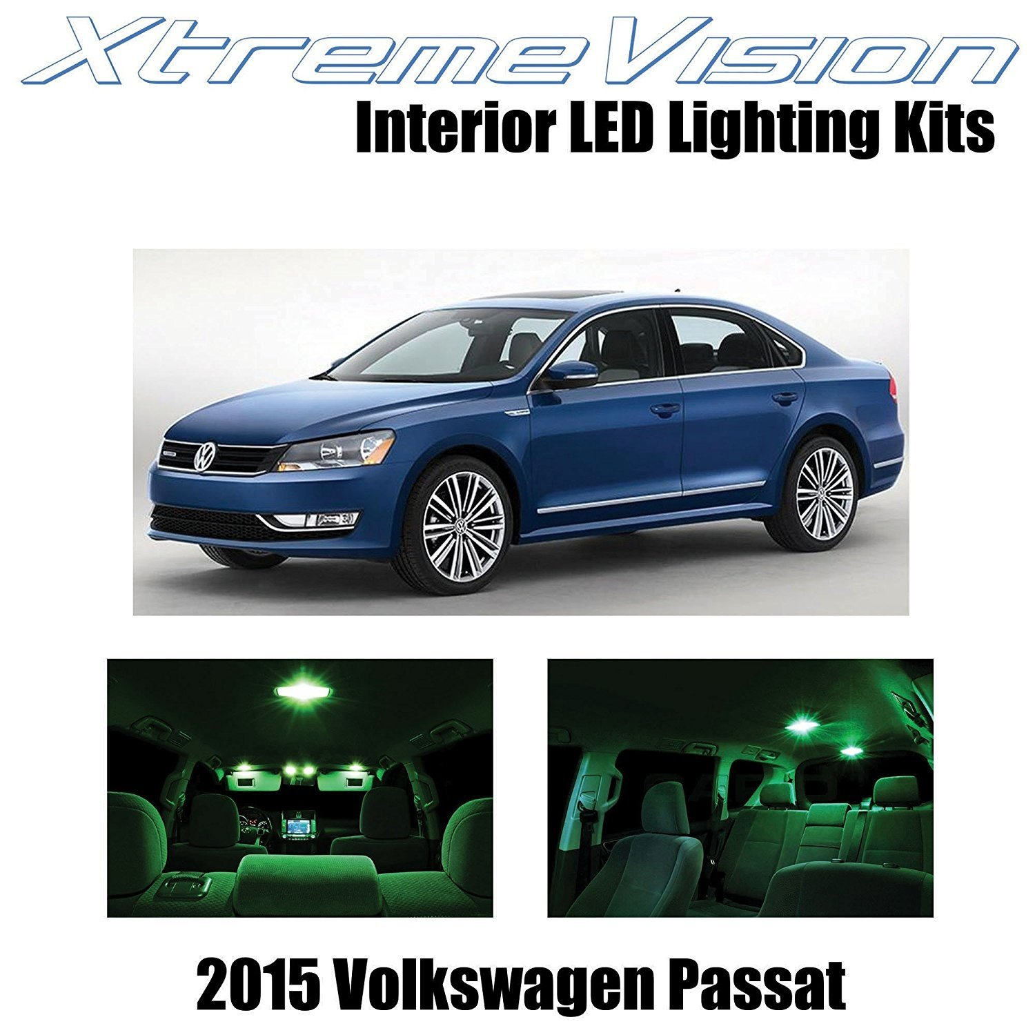 XtremeVision LED for Volkswagen Pasat 2015+ (9 Pieces) Green Premium Interior LED Kit Package + Installation Tool