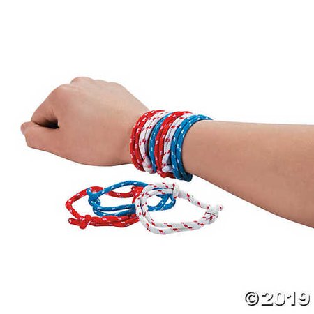 72 4th of July PATRIOTIC Party Favors RED WHITE BLUE ROPE Friendship BRACELETS