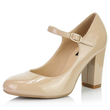 DailyShoes Women's Chunky Classic Round Toe Ankle Strap Shoes with Buckle Closure, Beige Patent Leather, 8.5 B(M)