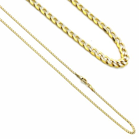 14K Yellow Gold White Gold Two Tone White Pave Curb Chain Necklaces Width 2mm