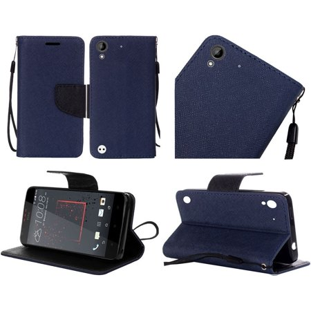 For Htc Desire 530 Flip Wallet Credit Card   Dark Blue