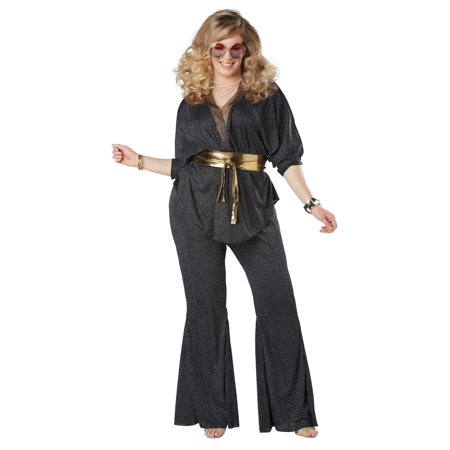 Disco Dazzler Women's Plus Halloween Costume - Dark Disco Halloween