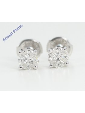 7db8907fd442bf Product Image 18k White Gold Invisible Setting Princess Cut Diamond Earrings  (0.58 Ct, H Color,