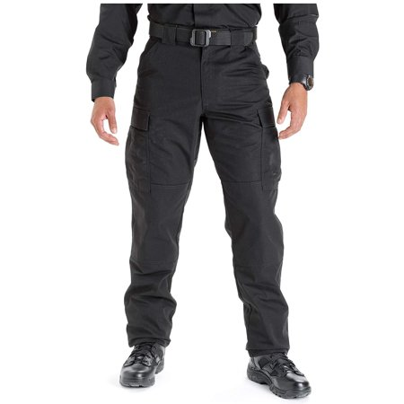 5.11 Tactical Men's Ripstop TDU Work Pants, Adjustable Waistband, Lightweight Bottom, Style 74003, Black, X-Small, Regular