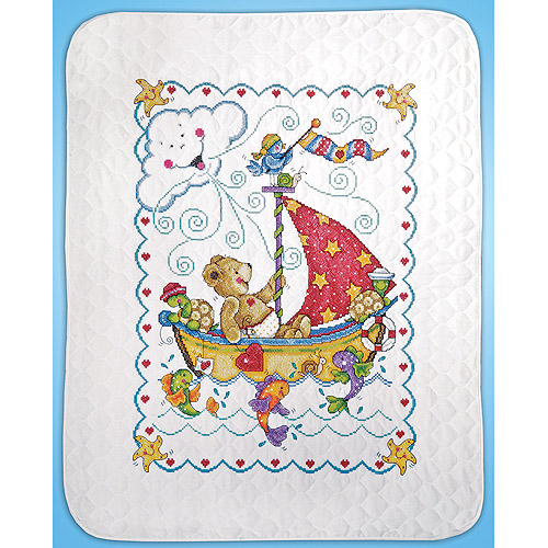 Sail Away Baby Quilt Stamped Cross-Stitch Kit
