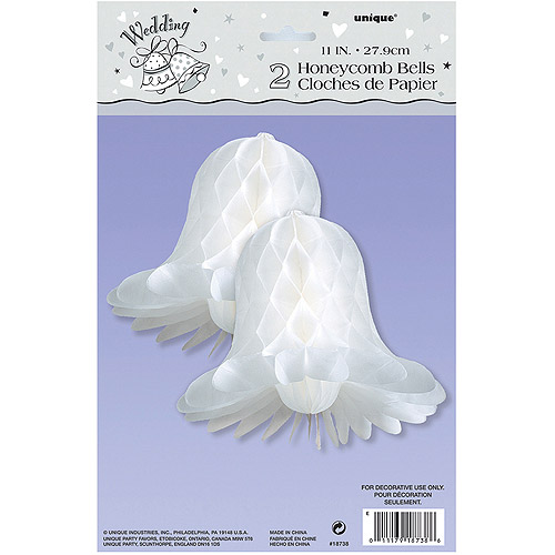 11'' White Bells Honeycomb Decorations, 2pk