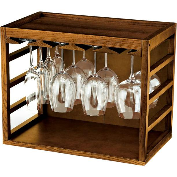 wine enthusiast cube stack wine glass rack walnut stain