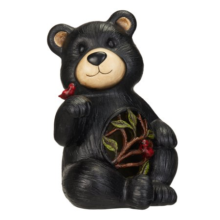 Mainstays Solar Powered Bear Garden Statue with Red Bird ()