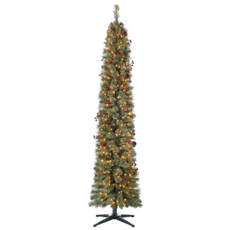 home heritage stanley 7 ft skinny pencil pine pre lit decorated christmas tree. Black Bedroom Furniture Sets. Home Design Ideas