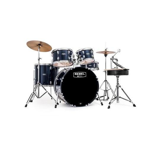 """Mapex RB5294FTCYB Rebel 5-Piece Drum Set with Hardware and Cymbals Royal Blue with 22"""" Bass Drum by Mapex"""