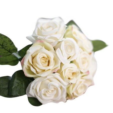 Mallroom9 Heads Artificial Silk Fake Flowers Leaf Rose Wedding Floral Decor Bouquet