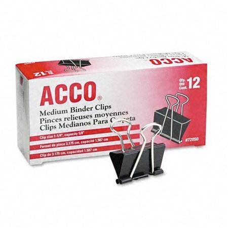 Acco Brands A7072050 Binder Clips, Medium, 12 Per Box, 6 Boxes = 72 Medium Clips ()