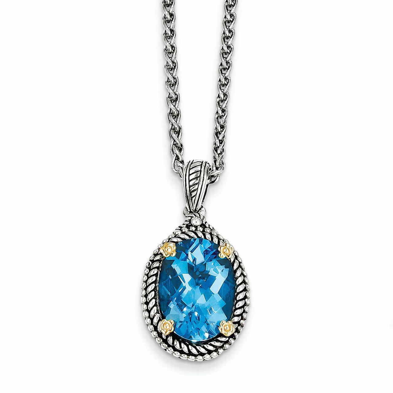 14k  Silver Two-Tone w  Swiss Blue Topaz Necklace by