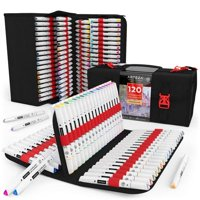 ARTEZA Art Markers Alcohol Based Everblend Sketch Markers Set of 120 Colors, with Dual Tips (Fine and Broad Chisel) for Painting, Coloring, Sketching and Drawing Include Organizer Case with 144 Slots
