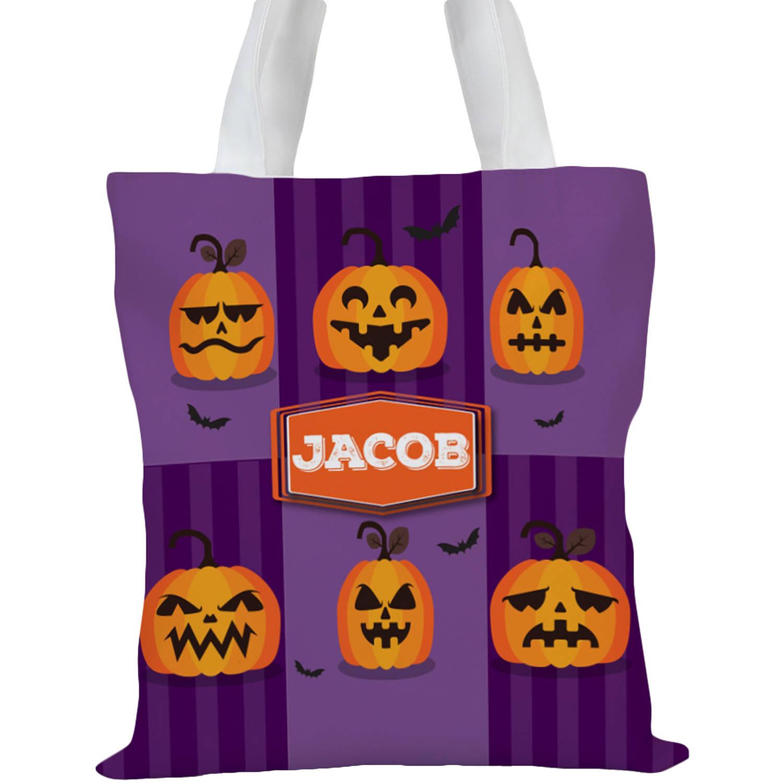 "Custom Kids Happy Halloween Tote Bag, Sizes 11"" x 11.75"" and 15"" x 16.25"""