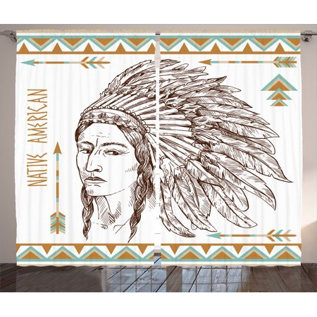 Native American Decor Curtains 2 Panels Set, Illustration Of Traditional Native Indian Man Portrait Ethnic Print, Living Room Bedroom Accessories,...