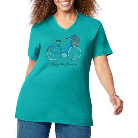 Just My Size by Hanes Women's Plus Size Printed Short Sleeve V-neck T Shirt