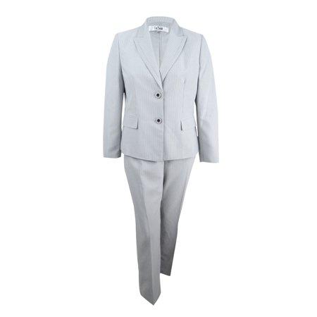 - Le Suit Women's Peak-Collar Pinstripe Pantsuit (16, Stone/Black)