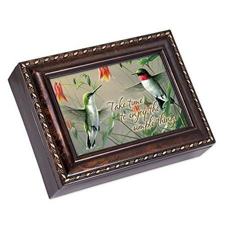 Hummingbirds Simple Things Burl Wood Finish Jewelry Music Box - Plays Tune Amazing Grace