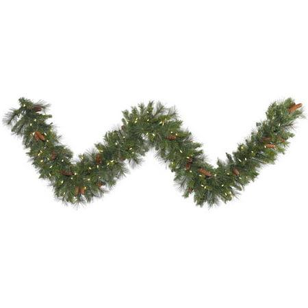 Vickerman 25 x 20 Prelit Savannah Mixed Pine Garland with Pine Cones and 350 Warm White LED Lights