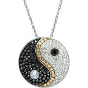 "Swarovski Element Sterling Silver Ying Yang Pendant, 18"" Necklace"