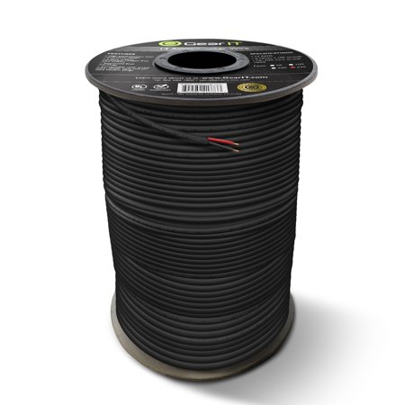 14 AWG Gauge CL3 OFC Speaker Wire, GearIT Pro Series 14 AWG Gauge (100 Feet / 30.48 Meters / Black) Oxygen Free Copper UL CL3 Rated Outdoor Direct Burial and In-Wall Installation Speaker Wire Cable