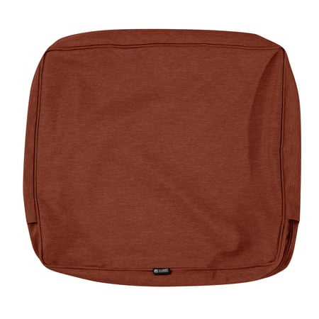 Classic Accessories Montlake Water-Resistant 25 x 22 x 4 Inch Patio Back Cushion Slip Cover, Heather Henna Red