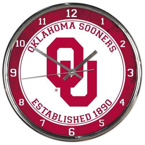 Oklahoma Sooners Round Chrome Wall Clock