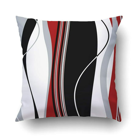 BPBOP Vertical Wavy Black White Gray And Red Stripes Pillowcase Pillow Cushion Cover 18x18 inches ()