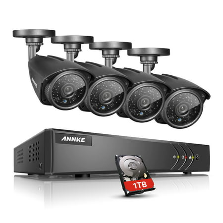 ANNKE 8CH 1080P HDMI DVR Outdoor Dome CCTV Video Home Security 4Pcs 960P Weatherproof Camera System Surveillance Kits With 1TB Hard Drive Disk