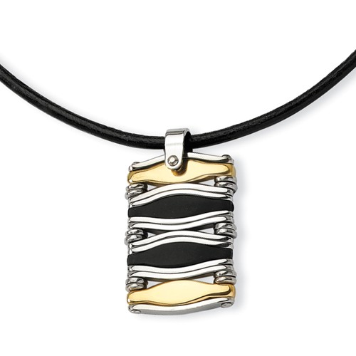 Stainless Steel Wavy Bar Gold Color IP-plated & Rubber Rectangle Pendant 18in.