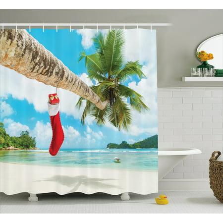 Christmas Shower Curtain Sock On The Palm Tree Tropical Sandy Beach Island Maldives Festive Design Fabric Bathroom Set With Hooks Multicolor