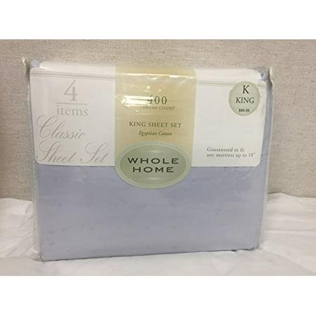 Whole Home Classic Sheet Set, 400 TC, Egyptian Cotton, King, Light Blue w/Dobby Dots and