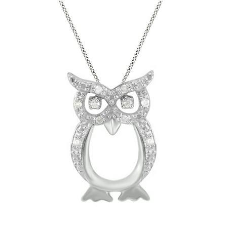 81283709e Jewel Zone US - Natural Diamond Owl Pendant Necklace 14k White Gold Over  Sterling Silver (1/10 Ct) - Walmart.com
