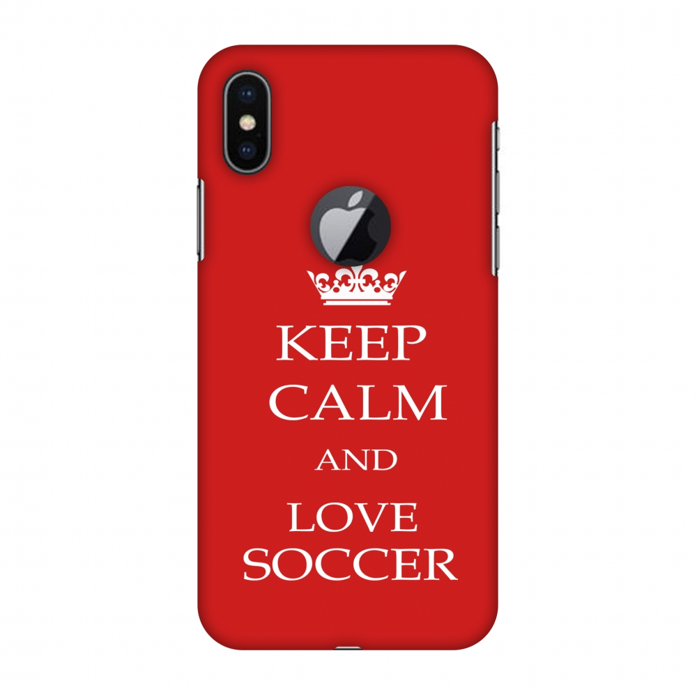 iPhone X Case - Soccer - Keep Calm Love Soccer - Red, Hard Plastic Back Cover, Slim Profile Cute Printed Designer Snap on Case with Screen Cleaning Kit