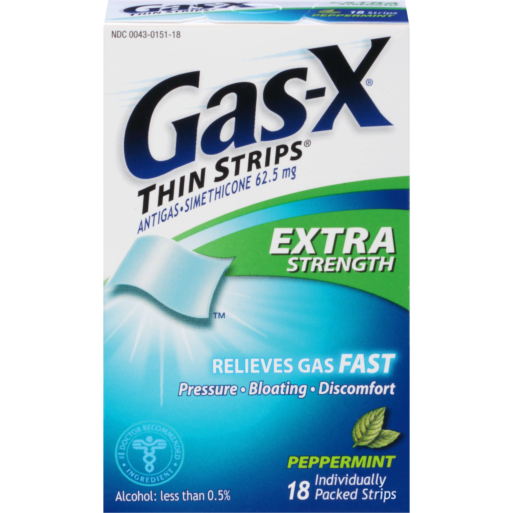 Gas-X Gas Relief Aid Antigas Simethicone Thin Strips, Extra Strength, 62.5mg, Peppermint 18 Strips