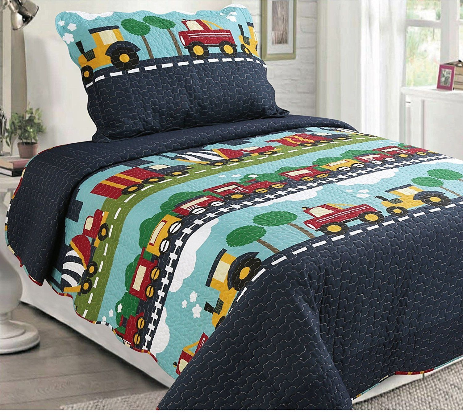 Fancy Linen 2pc Twin Bedspread Set Cars Train Boys Dark Blue Green Blue New