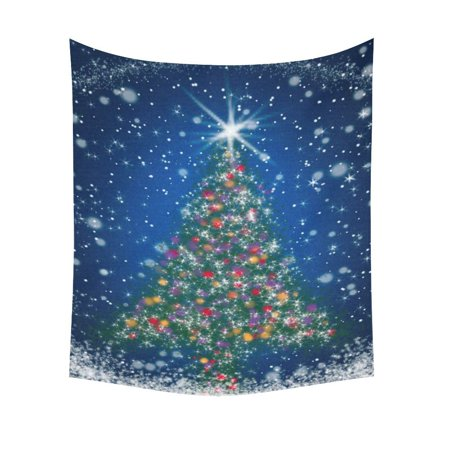 Holiday Tapestry - GCKG Sparkly Star Snowflake Tree Blue Starry Night Merry Christmas Tapestry Vertical Wall Hanging Holiday Wall Decor Art for Living Room Bedroom Dorm Cotton Linen Decoration 51 x 60 Inches