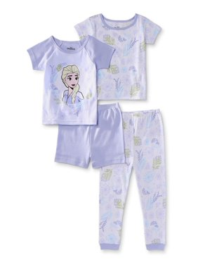 Frozen 2 Toddler Girl Short Sleeve Snug Fit Cotton Pajamas, 4pc Set