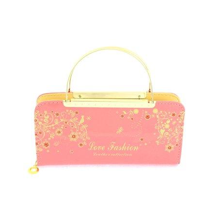 Unique Bargains Faux Leather Zip Up Floral Letters Print Handbag Purse Evening Clutch Bag Pink - image 3 of 4